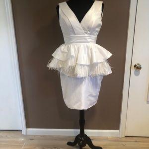 Dresses & Skirts - White feather peplum cocktail dress